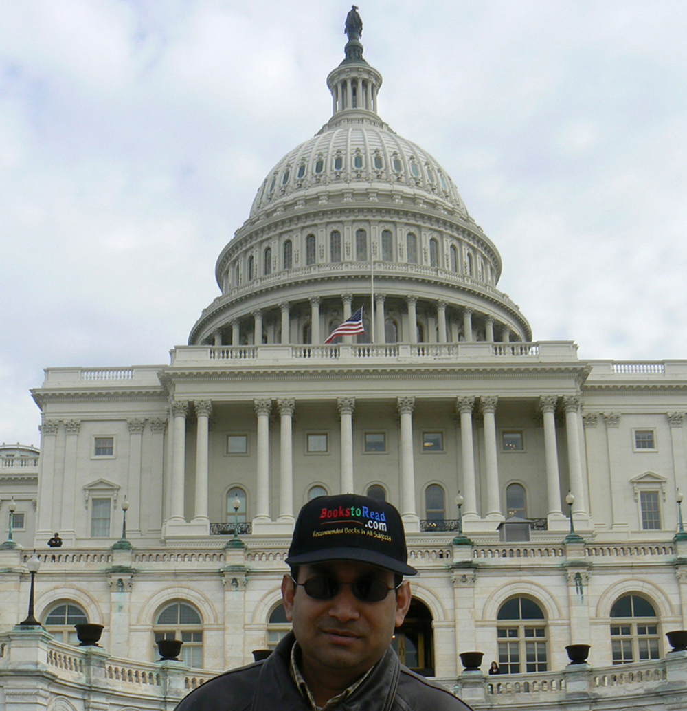 BooksToRead.com Founder Dr. Badrul Khan in front of the United States Capitol